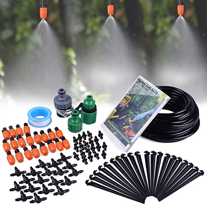 """MIXC 1/4-inch Mist Irrigation Kits Accessories Plant Watering System with 50ft 1/4"""" Blank Distribution Tubing Hose, 20pcs Misters, 39pcs Barbed Fittings, Support Stakes, Quick Adapter, Model: GG0B"""