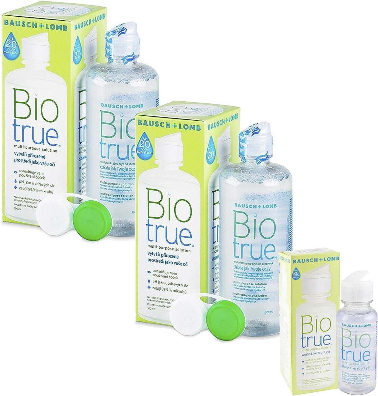 Bausch & Lomb Biotrue, Pack 2 x 300 ml + Kit Viaje 60 ml, Solucion Unica, Liquido para Lentillas Blandas (2 x 300 ml + 60 ml)