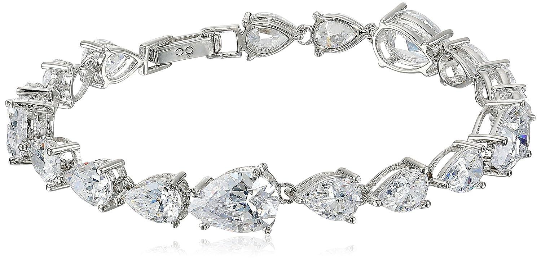 41ed52de0 Amazon.com: Crislu Platinum Plated Sterling Silver Cubic Zirconia Tear Drop  Bracelet: Jewelry