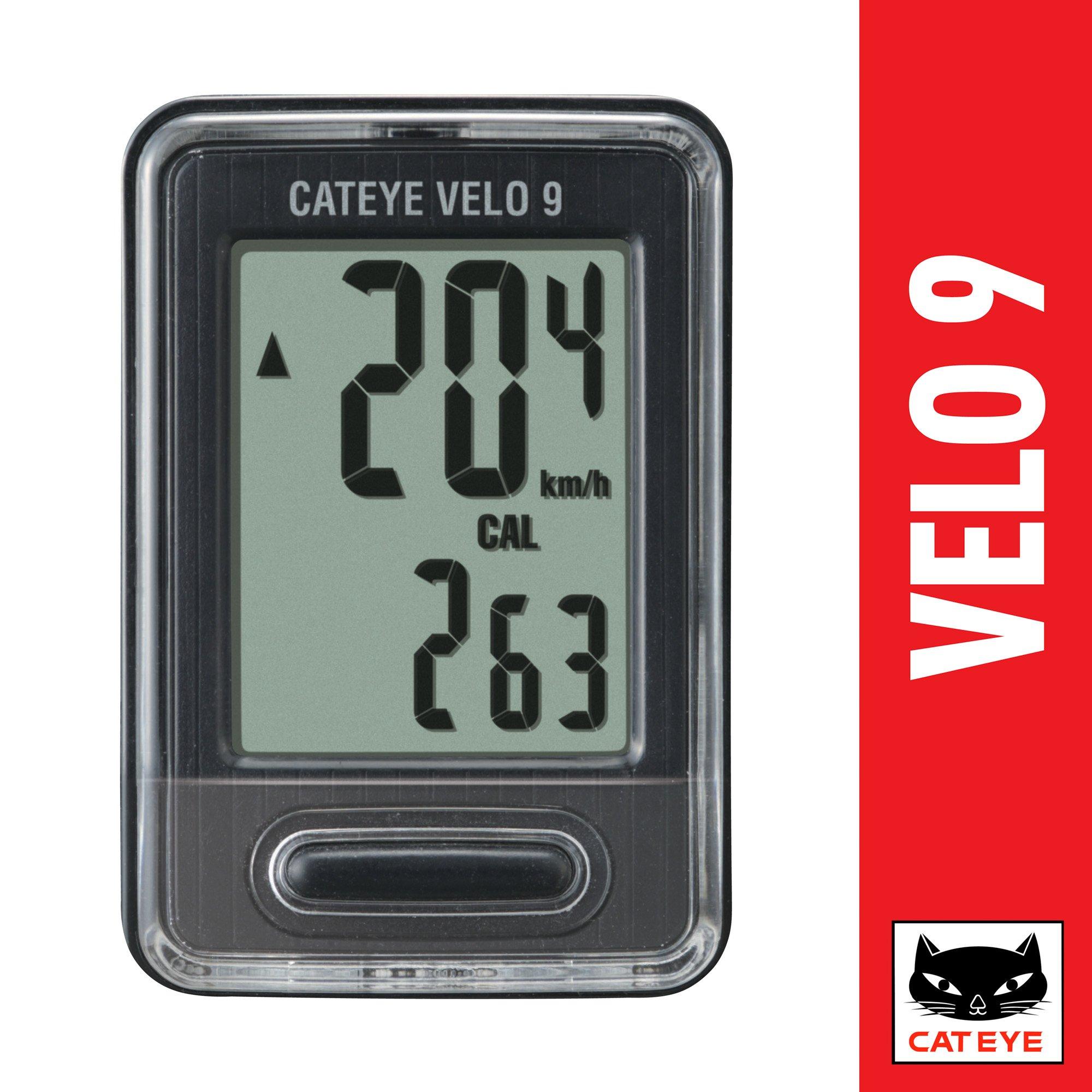 CAT EYE - Velo 9 Wired Bike Computer, Black