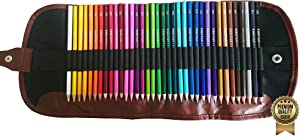 Amazrock Professional Watercolor Pencils Set - 36 Colors (Soft Core Special Edition) | Artist Water Soluble Colored Pencils - Travel + Canvas Roll Colored Pencil Case