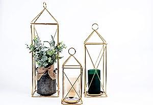 Elegant Decorative Tall Lantern with Pillar Candle Holder | Garden Porch Night Indoor/Outdoor for Wedding Decor, Party, Christmas | Set of 3 Lanterns (Gold)