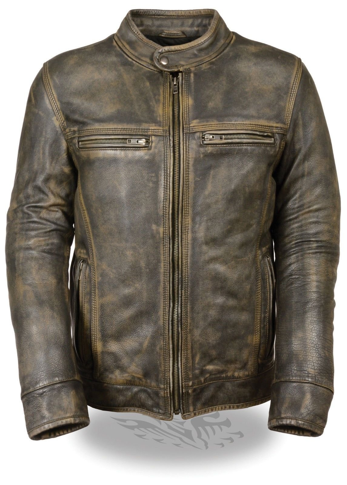 MEN'S MOTORCYCLE DISTRESSED BROWN SPORTY SCOOTER LEATHER JACKET W/2 GUN POCKETS (XL Regular)