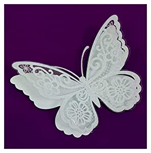 6 Large Pcs 3D White Butterfly Wall Decals Stickers Art for Kids Teens Bedroom Decor Easy to Stick Removable Peel and Stick