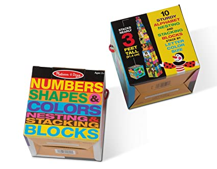 Melissa Doug Nesting Blocks Set Of 2 Alphabet Numbers Shapes Colors Stacking Toy