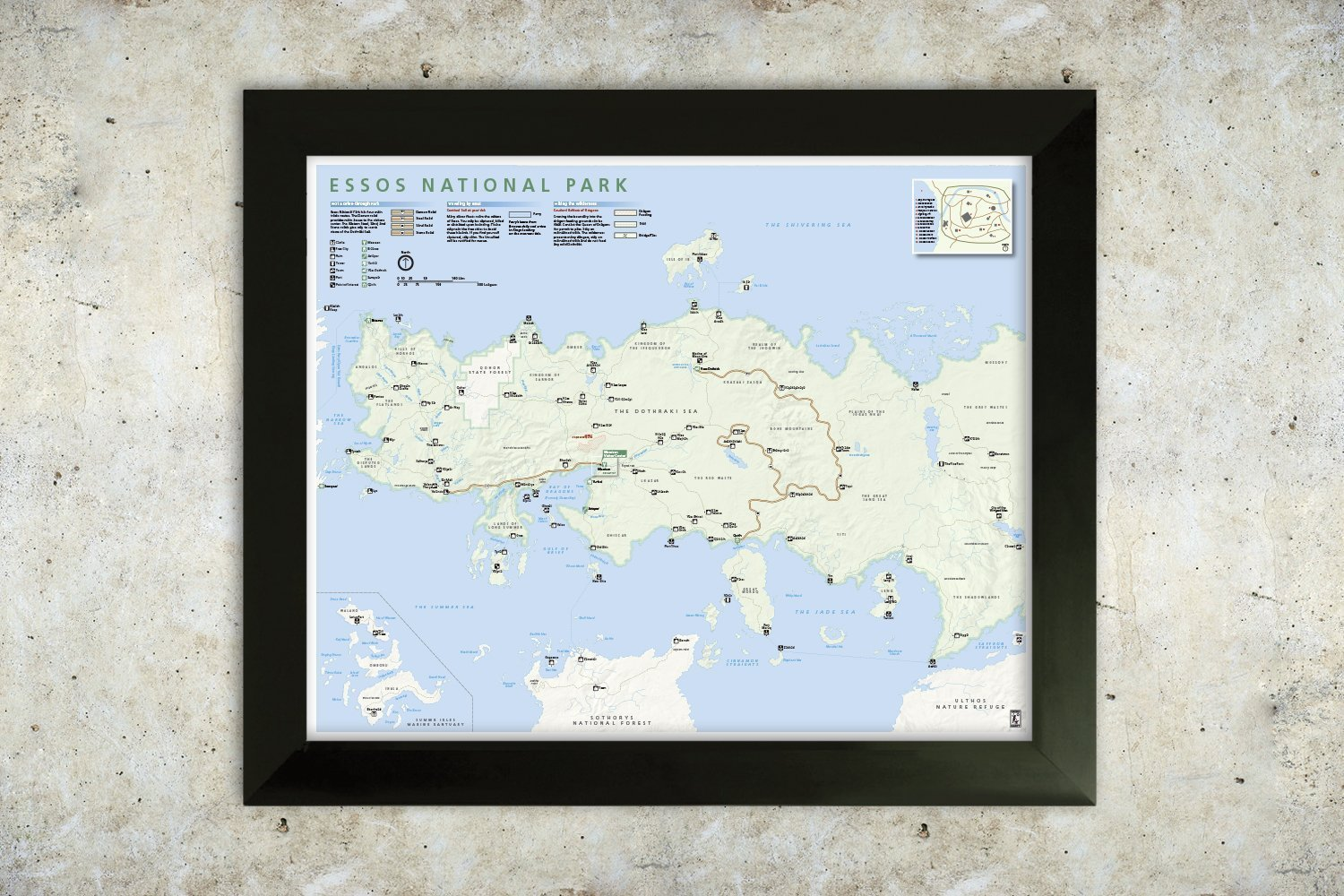 Essos Map National Park Style 16x20 Poster Game of Thrones