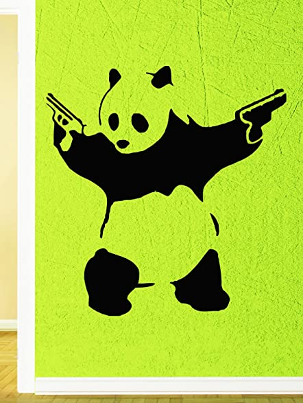 Wall stickers vinyl decal gangster panda with guns funny positive mural z755