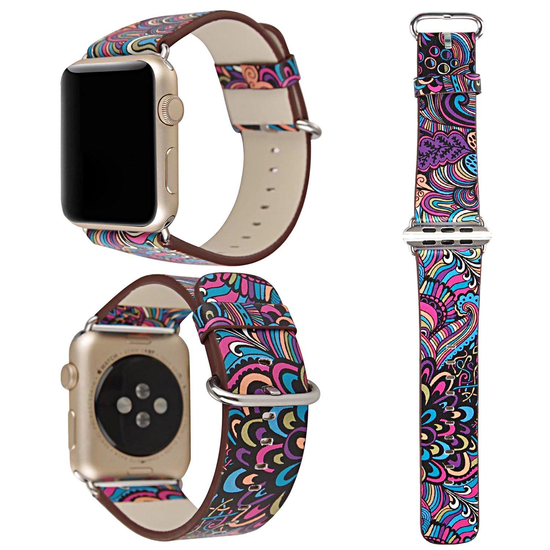 交換バンド アップルウォッチに対応 本革レザー,ZXK CO Apple watch Series3/Series2/Series1に対応 交換ベルト 花柄 アップルウォッチ バンド 38mm/42mm専用 おしゃれ エレガントなデザイン プレゼント 誕生日 B077CZM4JX 42|スタイル11 スタイル11 42