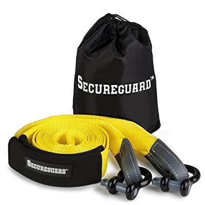 Secureguard Recovery Tow Strap - 20 Feet Long | Extra Heavy Duty Tow Rope with 30,000 lbs of Strength | Reinforced Eye Hoops | Steel U-Hooks for Reliable Towing | With Durable Carrying Bag for Storage: Automotive