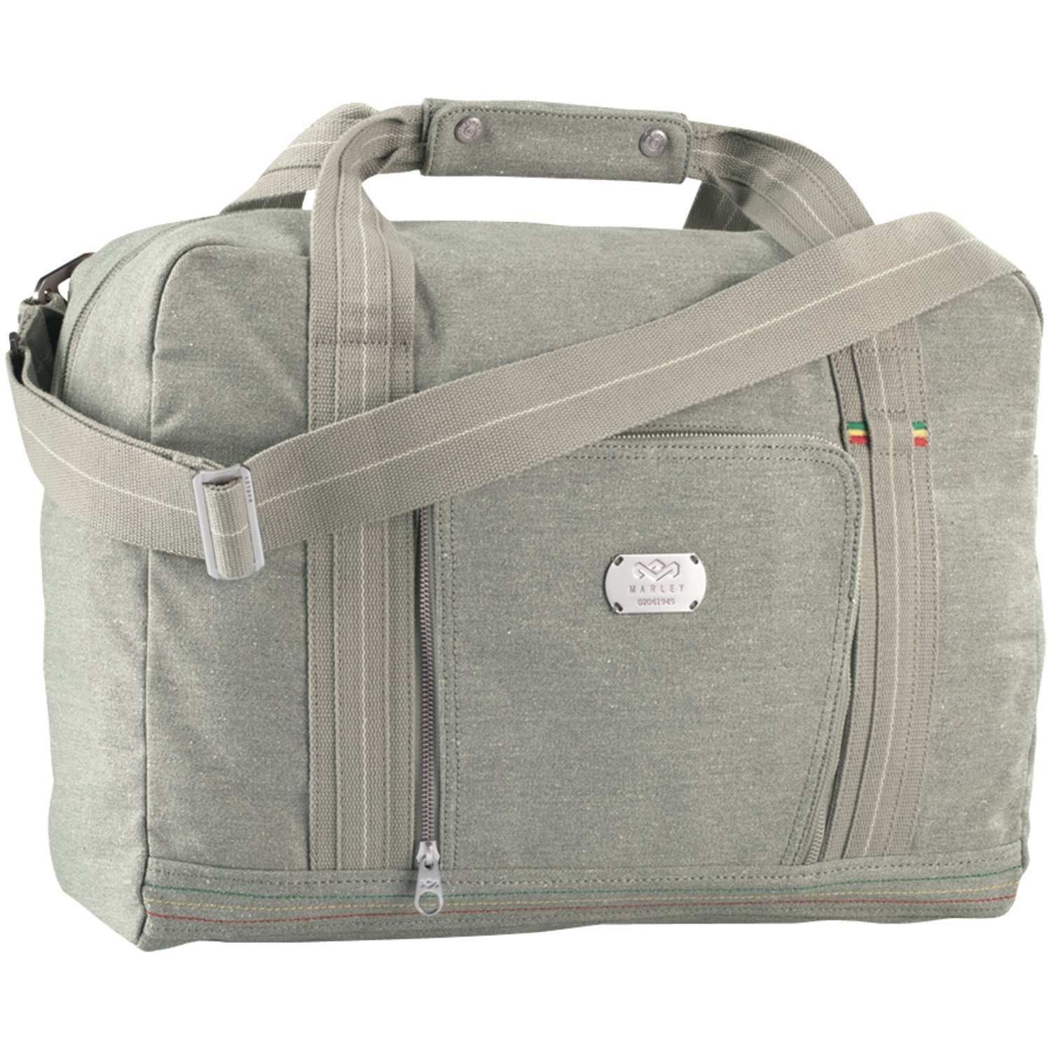 House of Marley, Lively Up Overnighter Bag, Padded External Laptop Pocket, 19.5in x 11.75in x 7.75in, Removable Shoulder Strap, Made of Hemp and Organic Cotton, BM-JD000-SM Mist