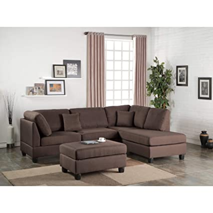 Superb Amazon Com Overstock Moyer 3 Piece Sectional Sofa Chocolate Squirreltailoven Fun Painted Chair Ideas Images Squirreltailovenorg