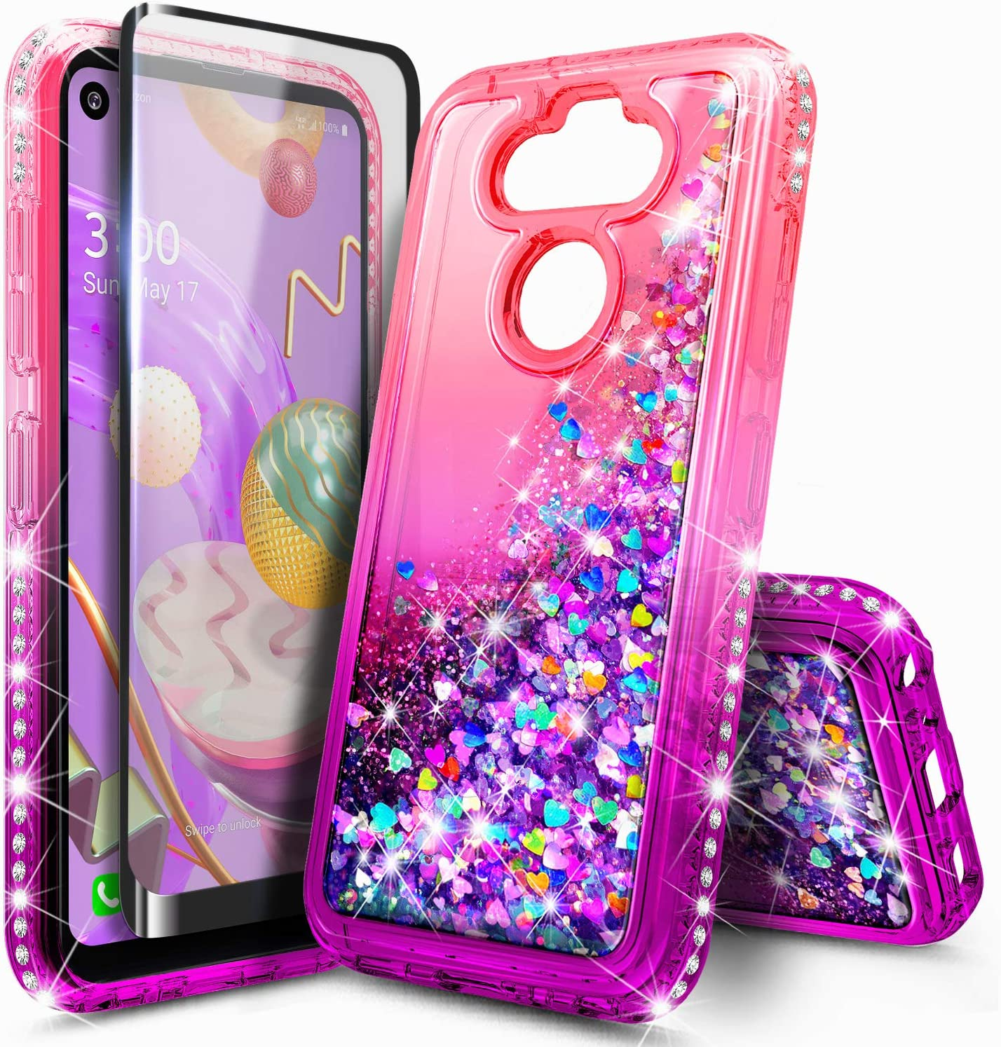 E-Began Case for LG Phoenix 5, K31 Rebel (L355DL) with Tempered Glass Screen Protector, Glitter Liquid Girls Cute Phone Case for LG Aristo 5/K31/Tribute Monarch/LG K8X/Fortune 3/Risio 4 -Pink/Purple