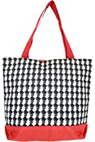M Tote Shopping Bag Travel Overnight Gym Purse Case Baby Beach Houndstooth Red