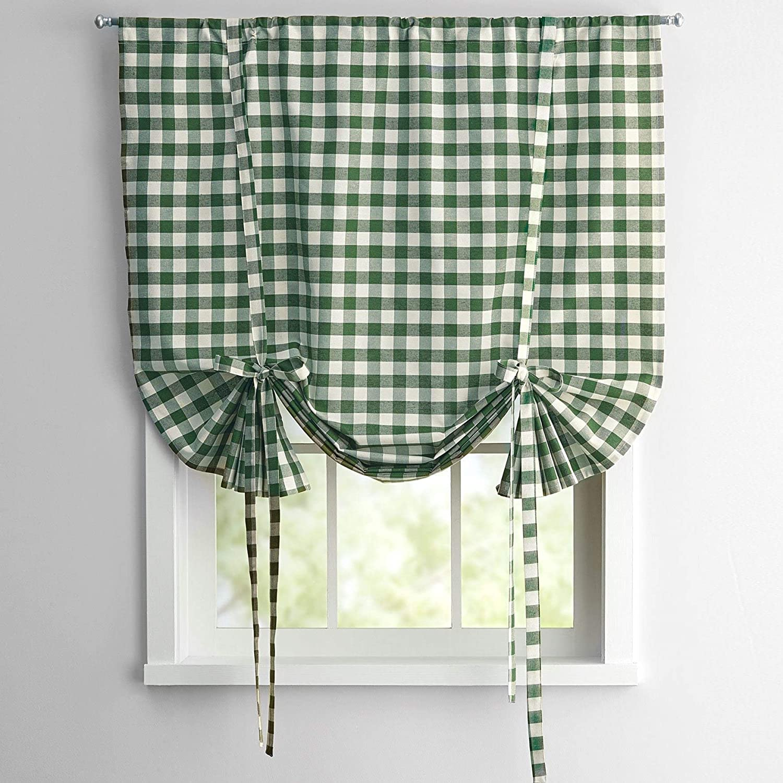 Sage Checkered Plaid Gingham Kitchen Window Curtain Drapes Panel Valance Shade
