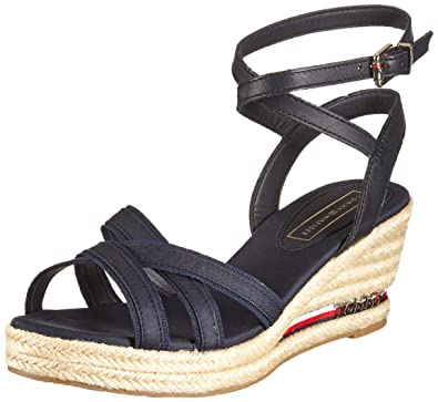 bcd15a4a82c Amazon.com | Tommy Hilfiger Elba Signature Tape Wedge Womens Sandals ...