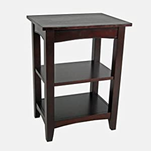 Alaterre Shaker Cottage End Table with 2 Shelves, Espresso