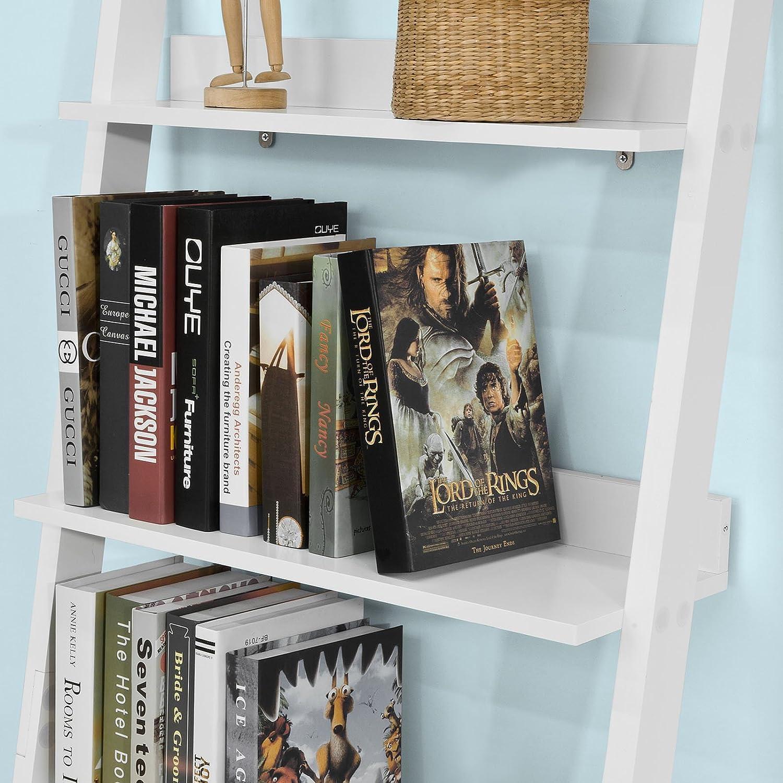 SoBuy FRG230-W Estantería estilo escalera con 3 niveles y 2 cajones para pared, color blanco: Amazon.es: Hogar