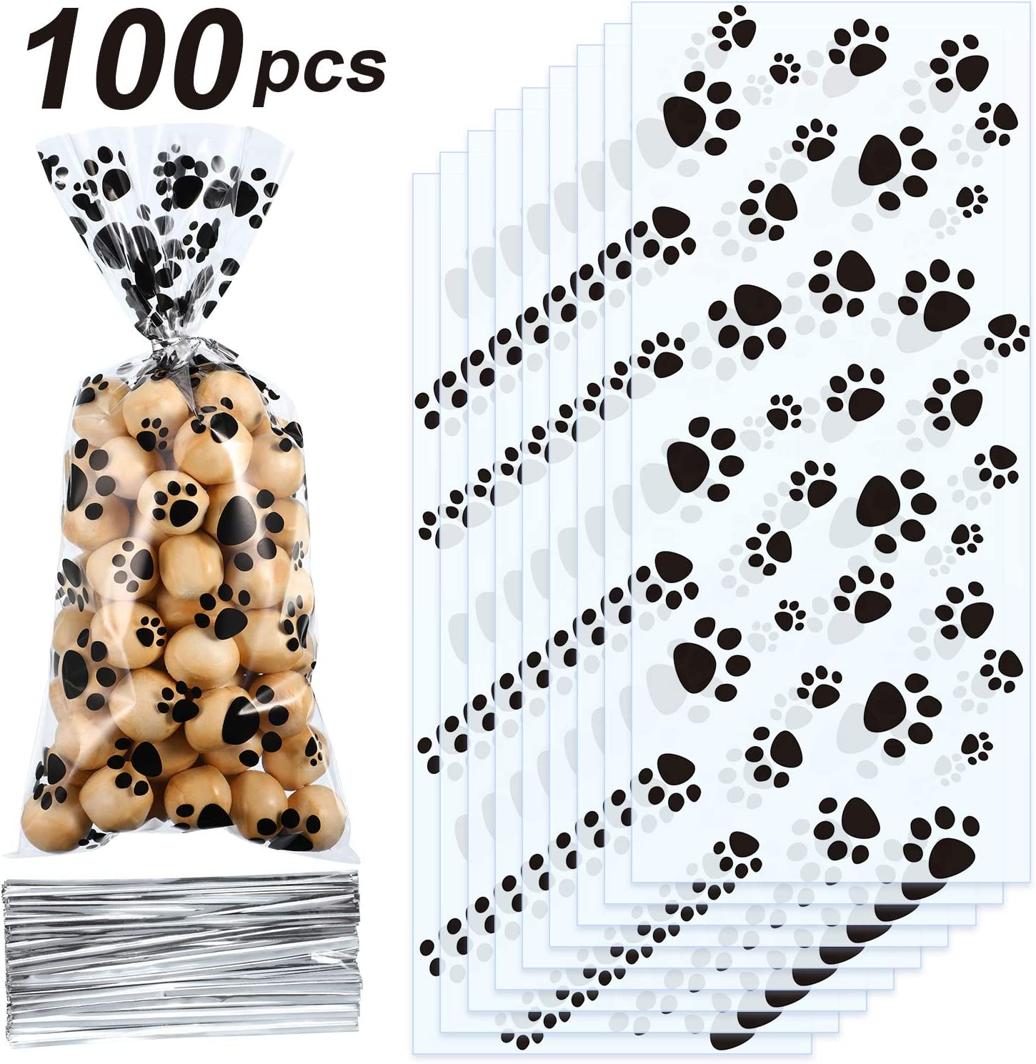 Blulu Pet Paw Print Cone Cellophane Bags Heat Sealable Treat Candy Bags Dog Gift Bags Cat Treat Bags with 100 Pieces Silver Twist Ties for Pet Treat Party Favor