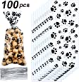Blulu 100 Pack Paw Print Patterned Cone Cellophane Bags Heat Sealable Treat Candy Bags Gift Bags with 100 Pieces Silver Twist Ties for Pet Treat Party Favor