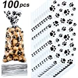 Blulu Pet Paw Print Cone Cellophane Bags Heat Sealable Treat Candy Bags Dog Gift Bags Cat Treat Bags with 100 Pieces…