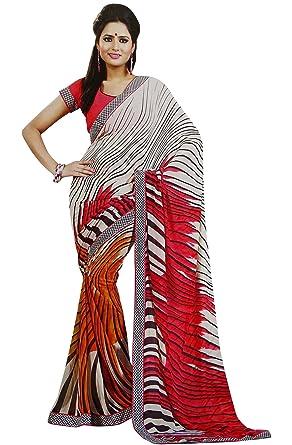 ea931ba0f7 White Georgette Saree Elegant Women Ethnic Wear Unstitched Sari Indian  Clothing: Amazon.co.uk: Clothing