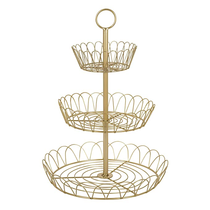 Amazon.com: Kate and Laurel Leanza Metal Accent Tray, 3 Tier ...