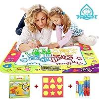 COOLJOY Doodle Tappeto Magico, 80CM * 60CM Tappeto Colorabile Magico Doodle con 1 Libro Acquatico Disegno e 5 Pennarelli Magiche, Perfetti Regali Educativi per Il Compleanno e Natale