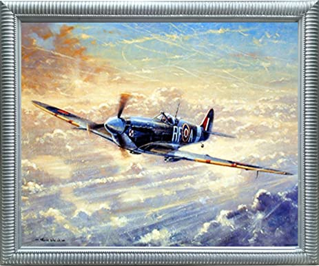 Amazon.com: Aviation Framed Poster - Spitfire Airplane Painting ...