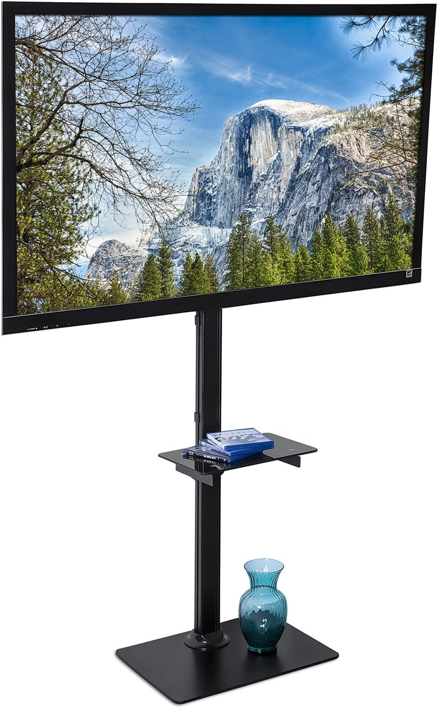 Amazon Com Mount It Portable Tv Floor Stand With Mount Tall Pedestal Television Stand With Free Standing Base Ideal For Presentations Tradeshows Outdoors Home And Office Use Fits Up To 70 Inch Screens Electronics