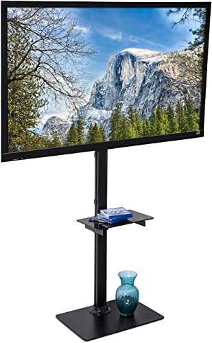 Mount-It Portable TV Floor Stand with Mount – Tall Pedestal Television Stand with Free-Standing Base, Ideal for Presentations, Tradeshows, Outdoors, Home and Office Use, Fits Up to 70 Inch Screens