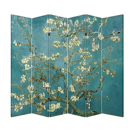 Amazoncom 6 Panel Original Teal Color Wood Folding Screen