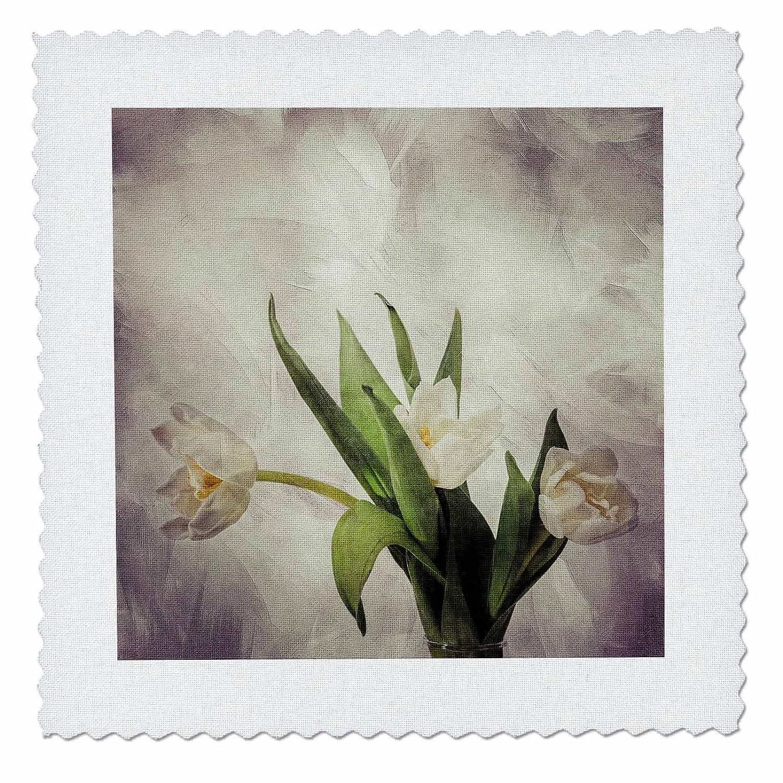 3drose Alexis写真 – 花チューリップ – 3つホワイトAガラス花瓶のチューリップ。パステルパープル濃淡色 – キルト正方形 25x25 inch quilt square qs_272074_10 25x25 inch quilt square  B078HCT1D4