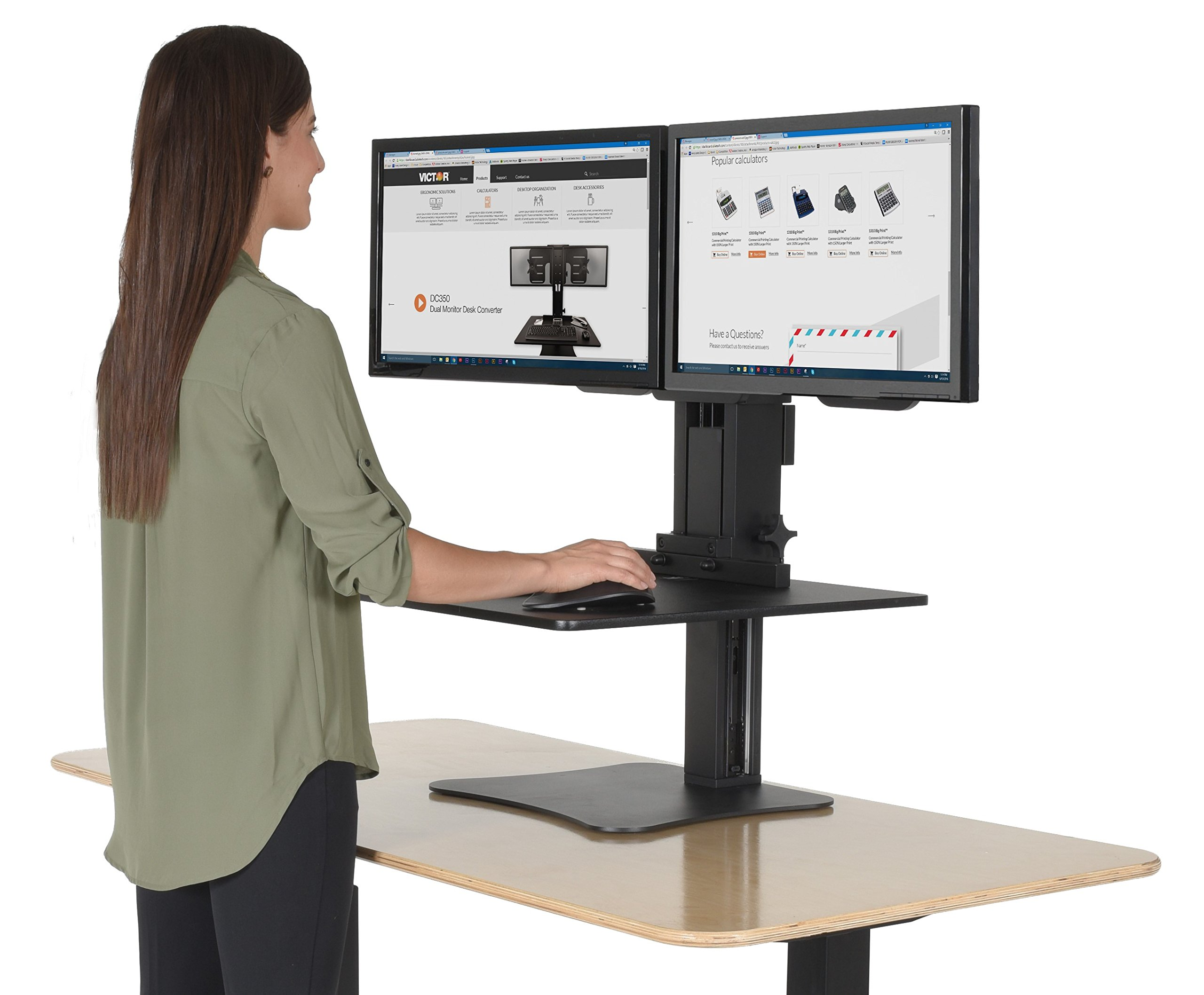 Victor DC350 High Rise Collection Dual Monitor Sit-Stand Standing Desk Converter, 28'' by 23'' by 15.5'', Black by Victor
