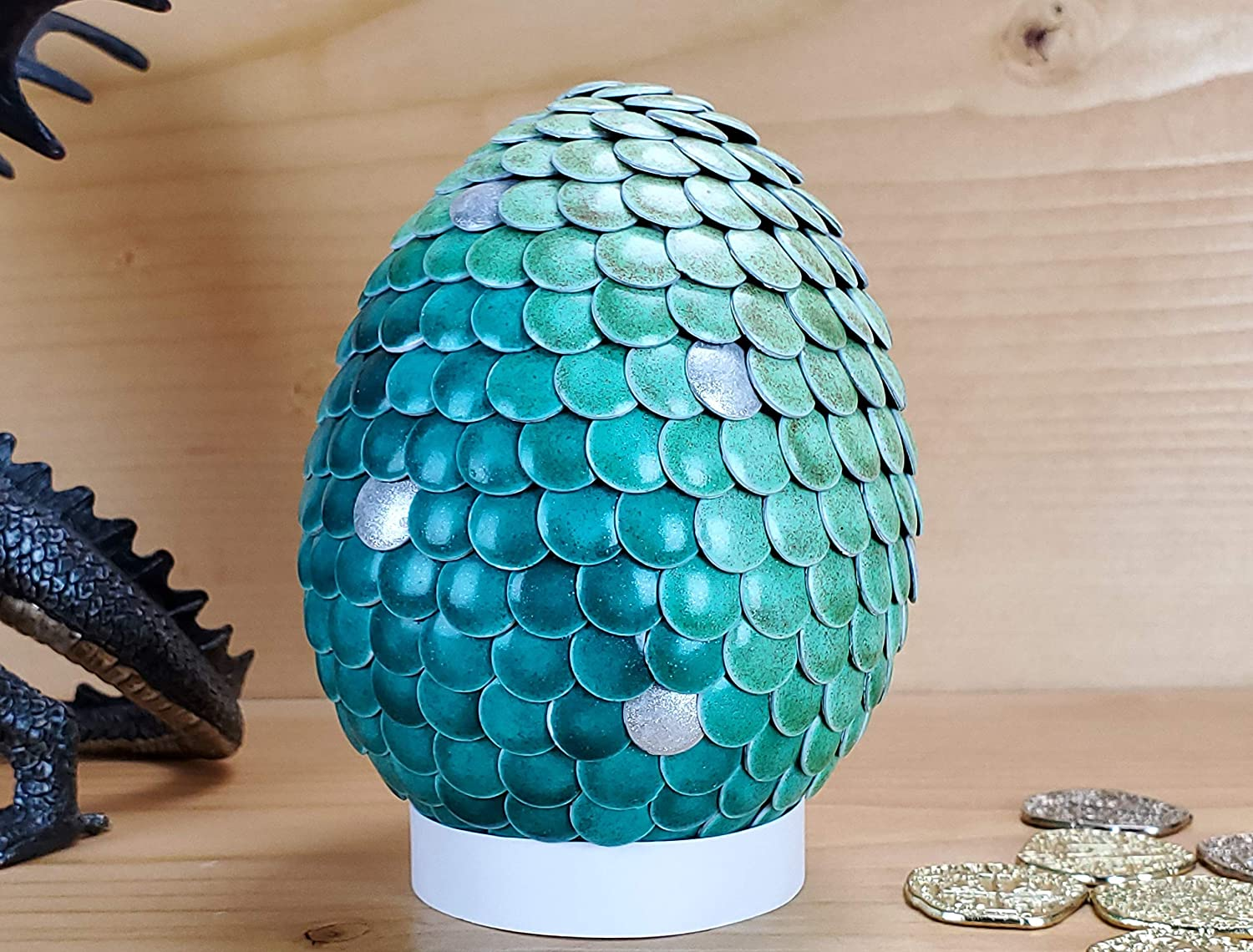 Color Changing Dragon Egg 4 inch Green and Silver to Light Green Handmade Heat Activated