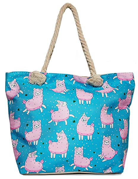 d5cf10f2a2e4 Llama Beach Shoulder Tote Bag - Sheep Llama Weekender Travel Bag - Comes  with Quick Reach Zipper Pouch