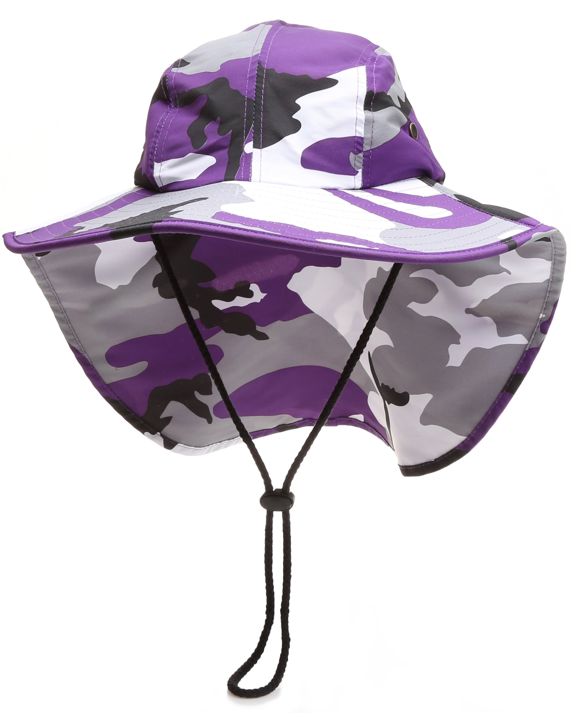 71a9664d1eb1 MIRMARU Outdoor Sun Protection Hunting Hiking Fishing Cap Wide Brim hat  with Neck Flap (PurpleCamo,LXL)