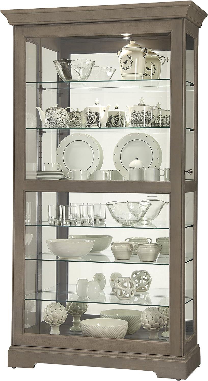 Howard Miller Tyler V Curio Cabinet 680-640 – Aged Grey Finish Home Decor, Six Glass Shelves, Seven Level Display Case, Locking Slide Door, No-Reach Light