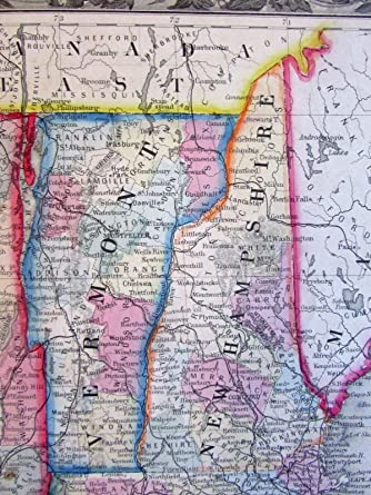 Amazon.com: New England states NH MA CT RI VT NYC inset 1860 ...