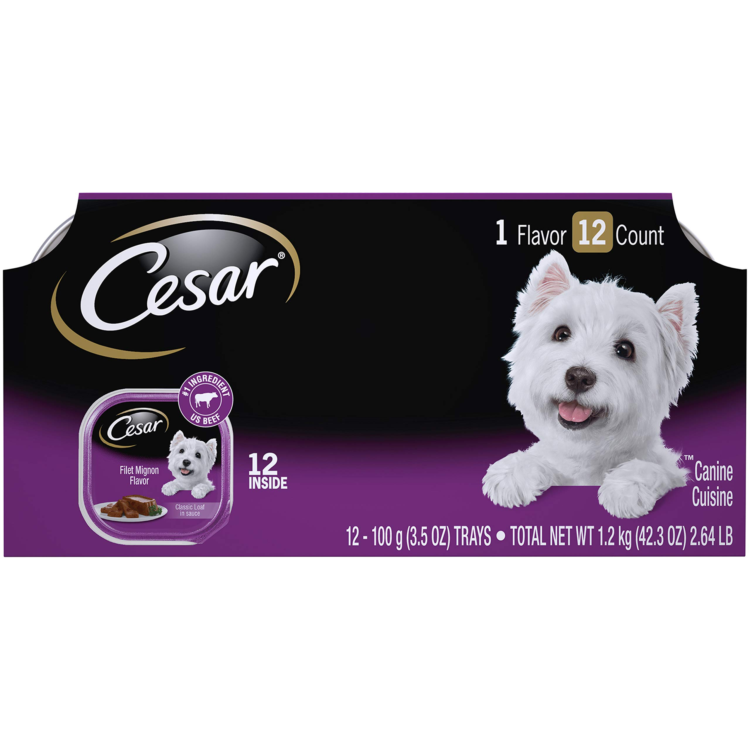 CESAR Soft Wet Dog Food Classic Loaf in Sauce Filet Mignon Flavor Multipack (24) 3.5 oz. Easy Peel Trays by Cesar