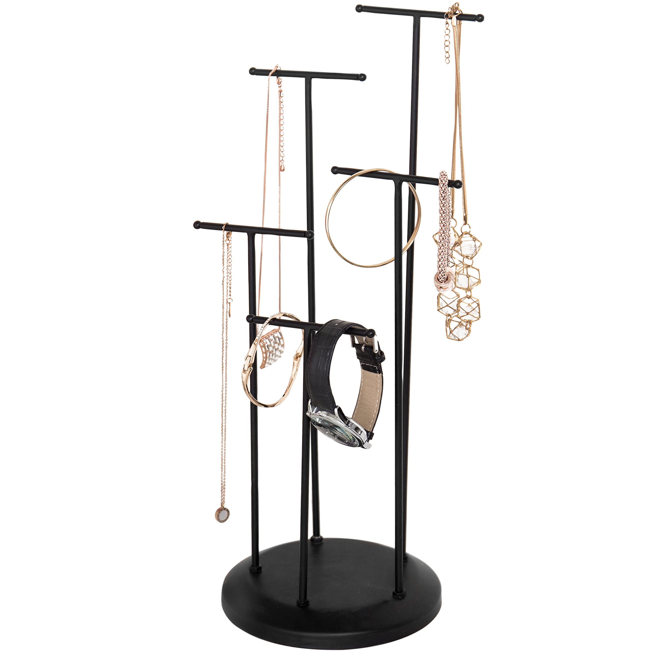 5-Tier Modern Matte Black Metal T-Bar Necklace Jewelry Organizer and Display Stand Rack