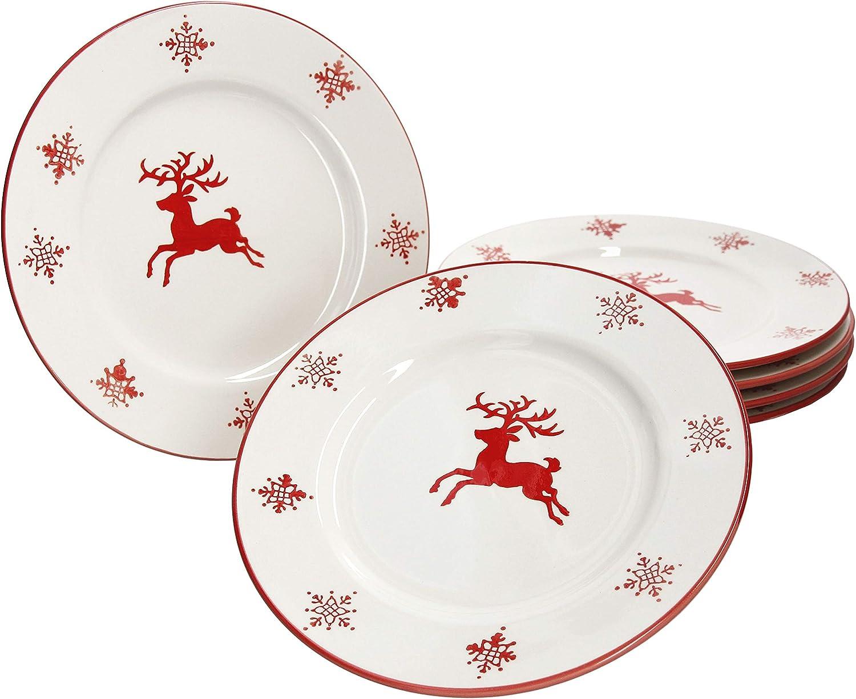 MamboCat per 6 Persone Motivo Natalizio con Fiocchi di Neve e Cervo Set di 6 Piatti da Dessert in Porcellana