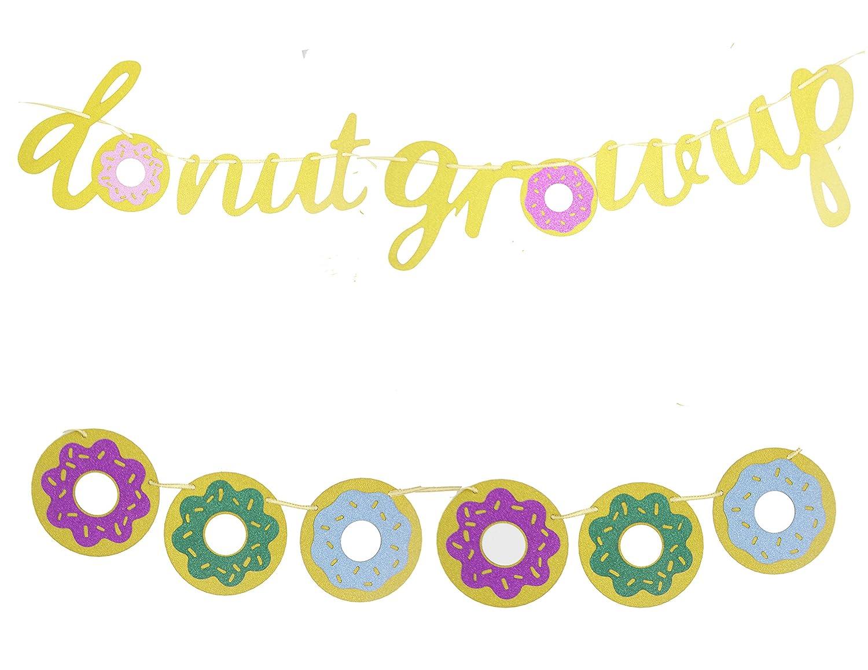 Awyjcas Donut Grow up Birthday Banner Gold Glittery,Donut Grow up Party Supplies,Donut Grow up Party Decorations,Donut Party Garland Kids Birthday Decoration