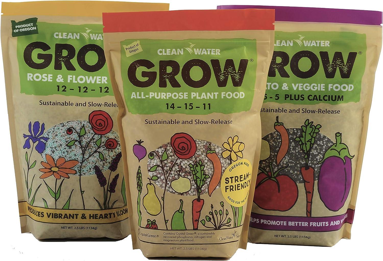 Clean Water Grow Gardening Gift Bundle/All-Purpose, Tomato & Veggie, Rose & Flower