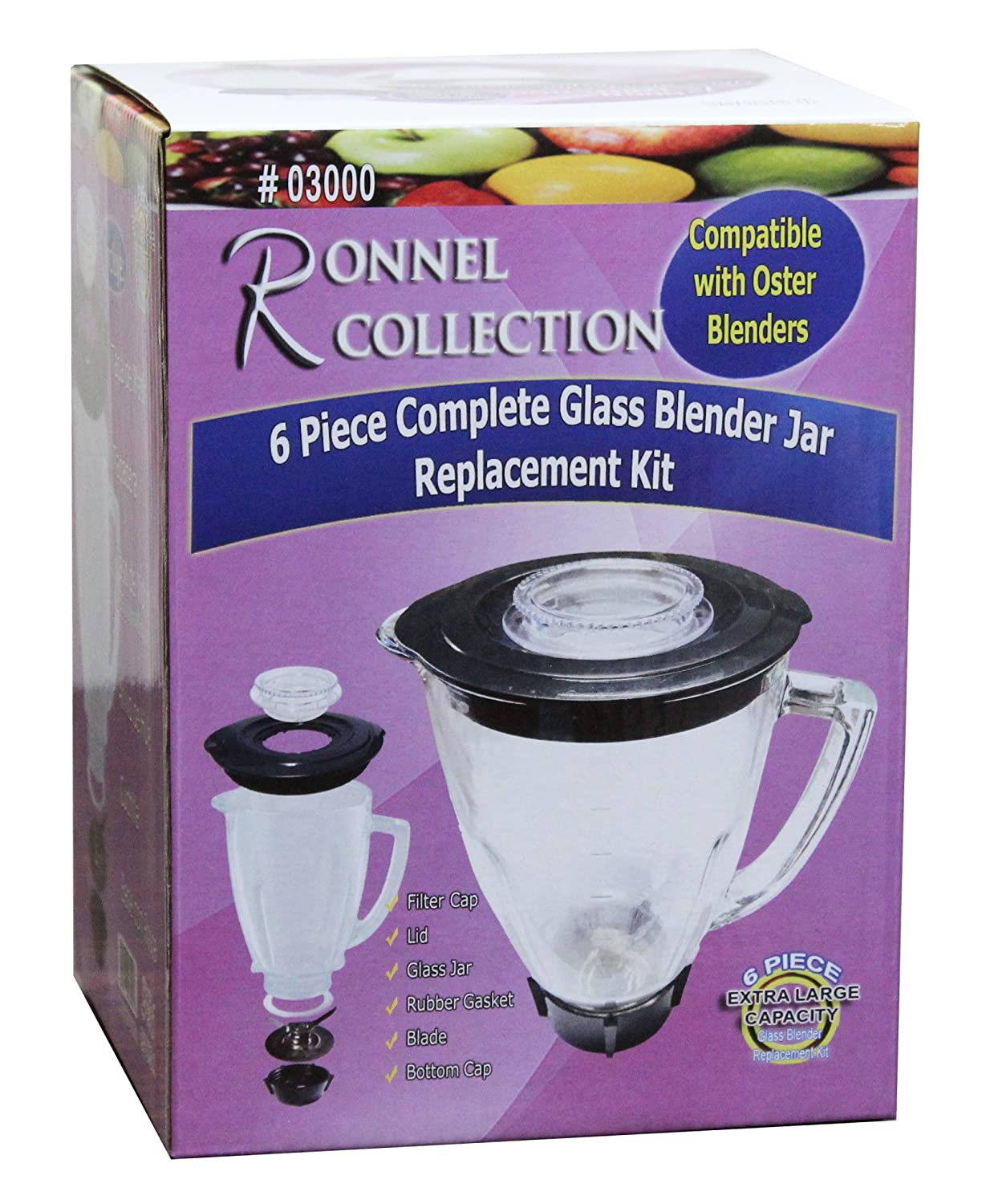 Ronnel Collection 6-Piece Square Blender Glass Jar Replacement Kit for Oster Blender 6.8 Cup 06000 1.6 Liter