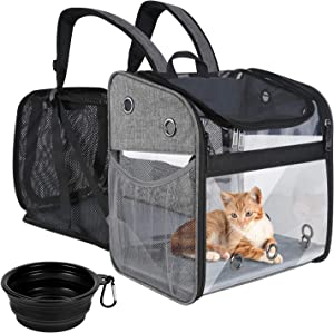Mancro Cat Backpack Carrier, Expandable Dog Carrier Backpack for Small Dogs, Transparent Design Cat Travel Backpack with Three-Side Entrance for Hiking Camping Outdoor Use Hold Cats Puppies Rabbits