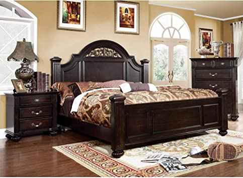 Amazon Com Furniture Of America Vame Traditional Walnut 3 Piece