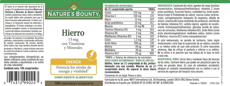 NATUREŽS BOUNTY - HIERRO 15mg VIT. MINE. 100comp NAT.BOUNTY: Amazon.es: Salud y cuidado personal