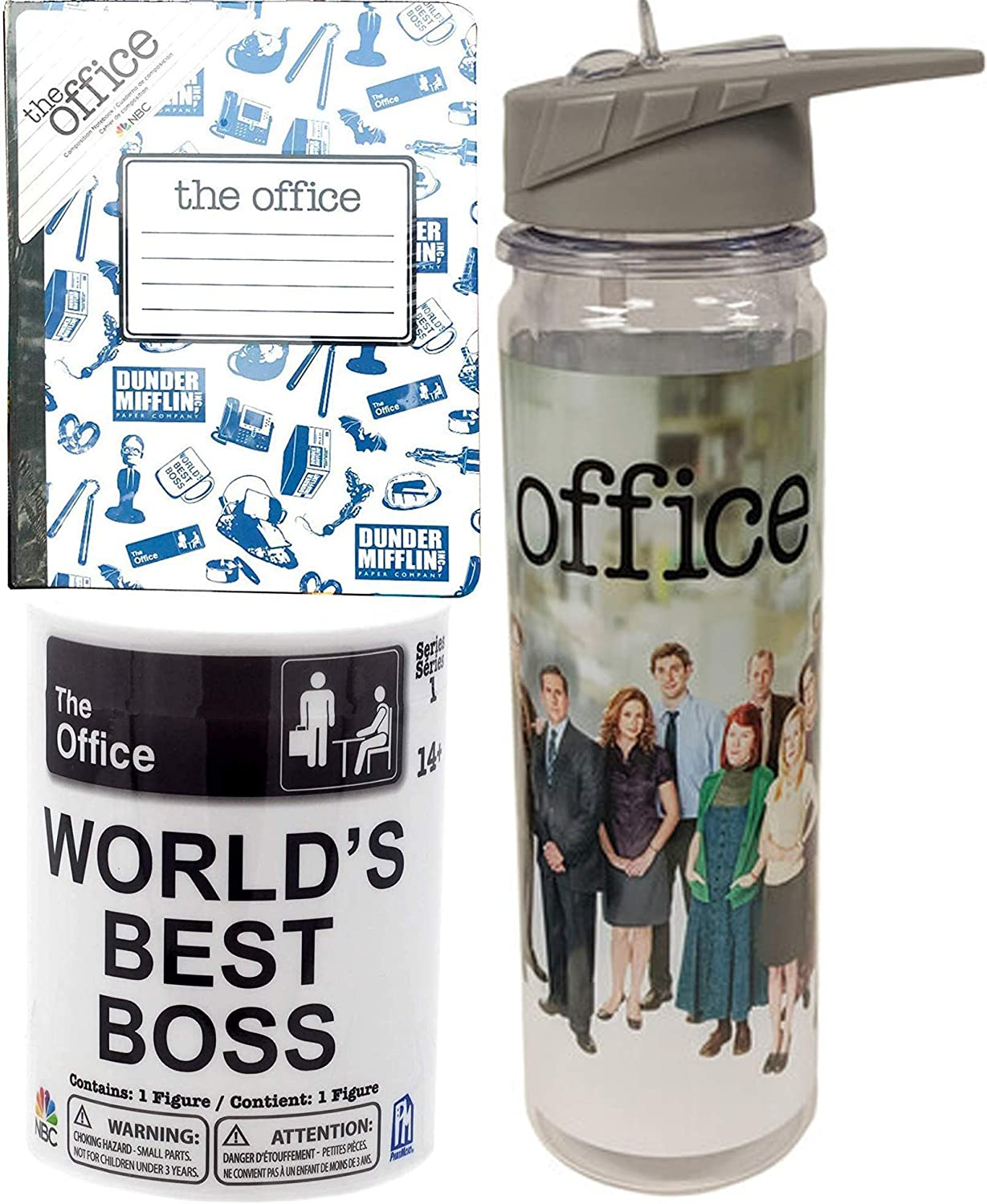 Water The Office Figure Collectible Bundled with NBC Dunder-Mifflin World's Best Boss Mini Figure Blind Can + NBC Series Notebook Hardcover Composition + Character Bottle 3 Items