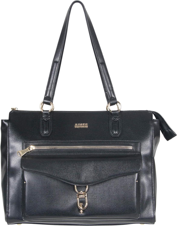 Aimee Kestenberg Women's Isla Saffiano Faux Leather Anti-Theft RFID 15in Business Tote, Black, 15
