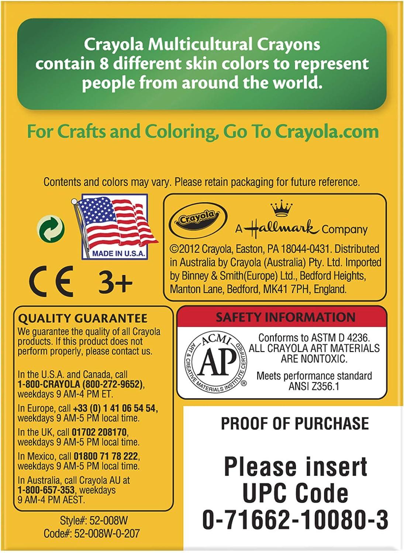 Pack of 8 Crayons Crayola Multicultural Crayons
